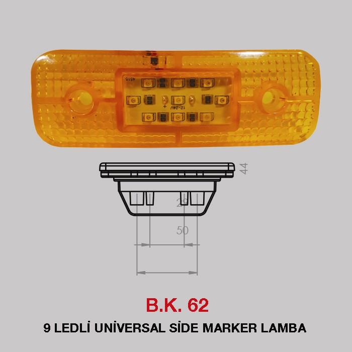 B.K 62 - 9 LEDLİ UNİVERSAL SİDE MARKER LAMBA