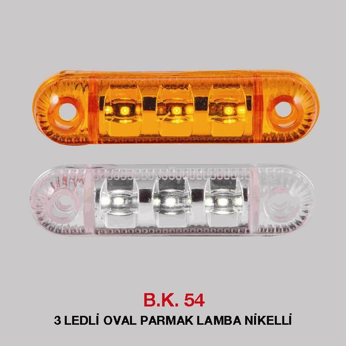 B.K 54 - 3 LEDLİ OVAL PARMAAK LAMBA NİKELLİ
