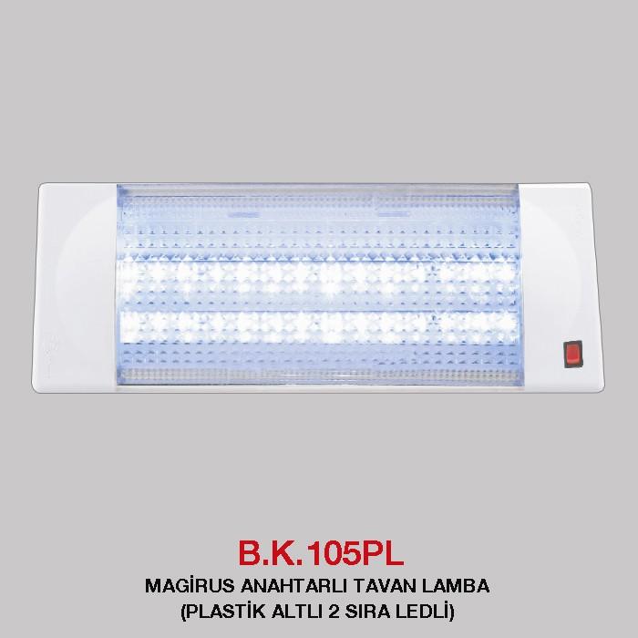 B.K. 105PL -  MAGİRUS ANAHTARLI TAVAN LAMBA PLASTİK ALTLI 2 SIRA LEDLİ